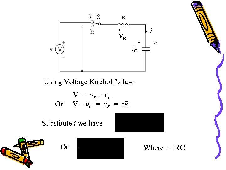 i v. R v. C Using Voltage Kirchoff's law Or V = v. R