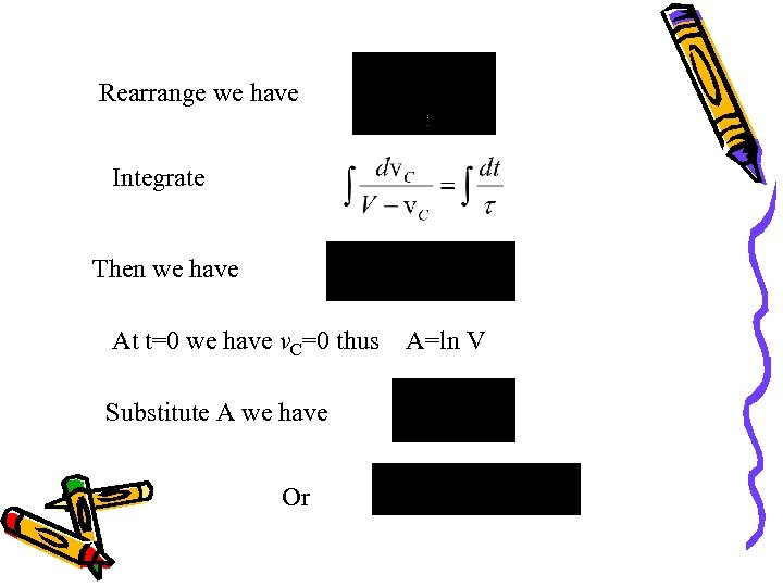 Rearrange we have Integrate Then we have At t=0 we have v. C=0 thus