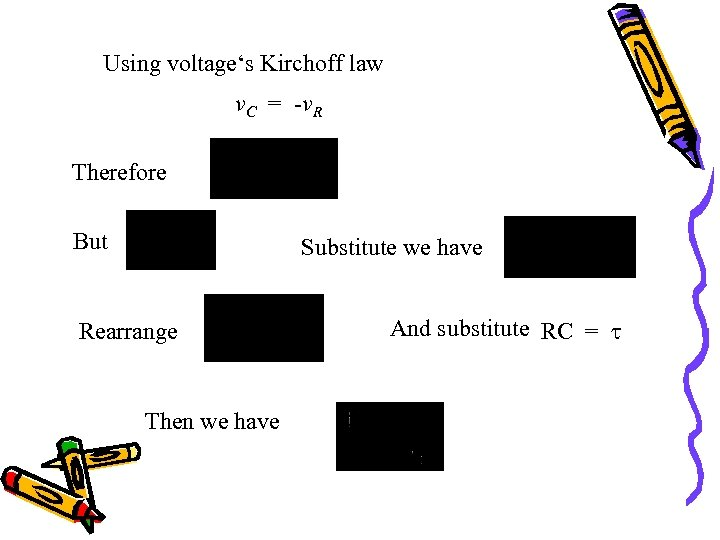 Using voltage's Kirchoff law v. C = -v. R Therefore But Substitute we have