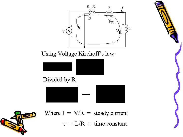 i v. R v. L Using Voltage Kirchoff's law Divided by R Where I