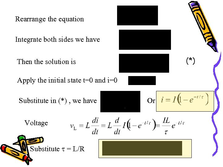 Rearrange the equation Integrate both sides we have (*) Then the solution is Apply