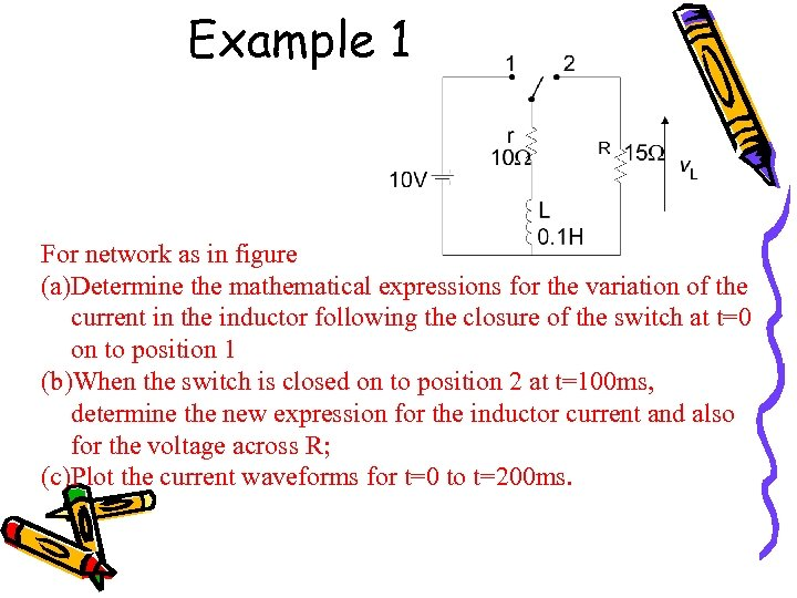 Example 1 For network as in figure (a)Determine the mathematical expressions for the variation