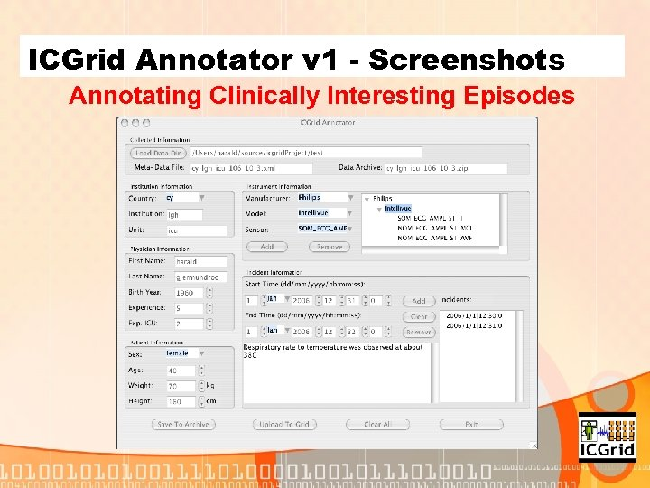 ICGrid Annotator v 1 - Screenshots Annotating Clinically Interesting Episodes