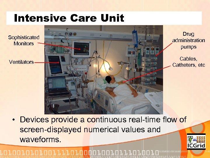 Intensive Care Unit Sophisticated Monitors Drug administration pumps Ventilators Cables, Catheters, etc • Devices
