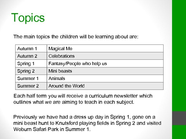 Topics The main topics the children will be learning about are: Autumn 1 Magical