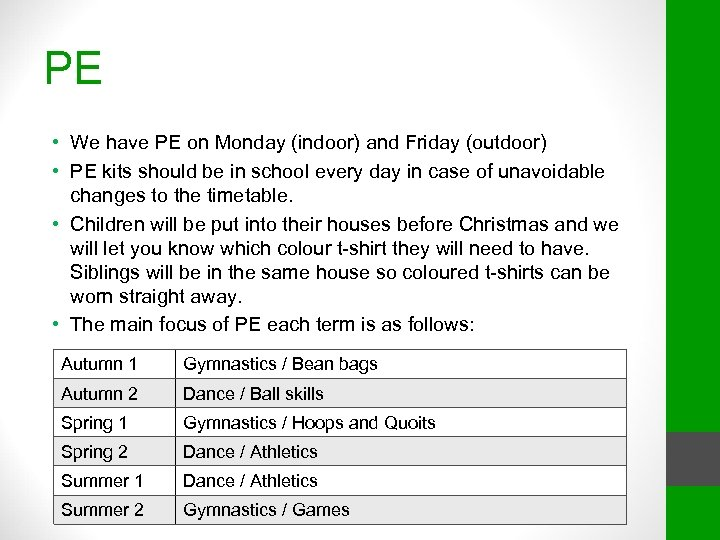 PE • We have PE on Monday (indoor) and Friday (outdoor) • PE kits