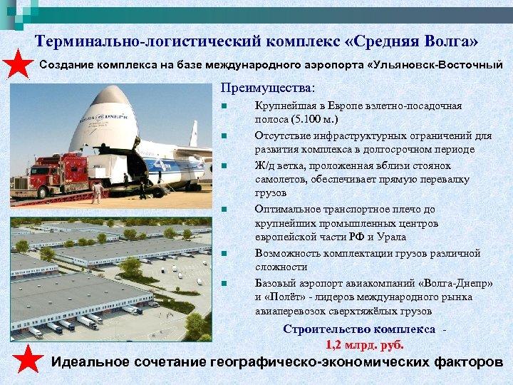 Терминально-логистический комплекс «Средняя Волга» Создание комплекса на базе международного аэропорта «Ульяновск-Восточный Преимущества: n n
