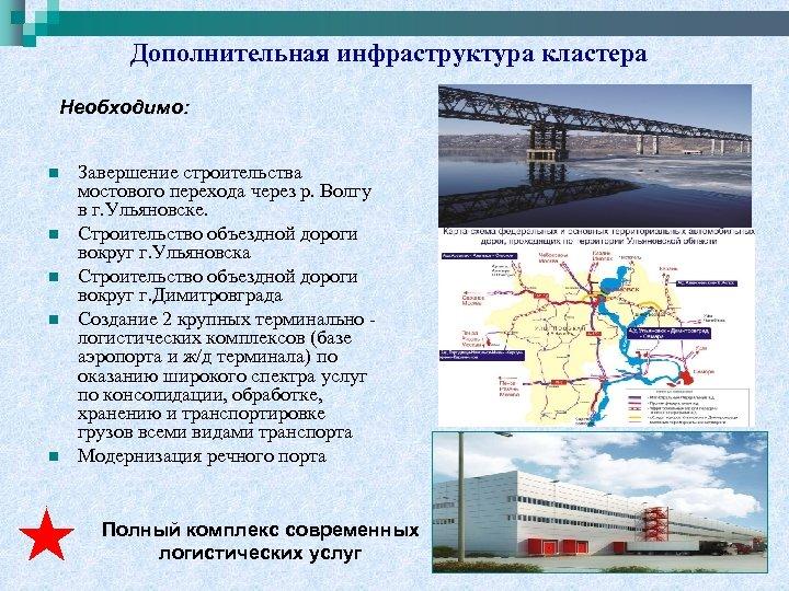 Дополнительная инфраструктура кластера Необходимо: n n n Завершение строительства мостового перехода через р. Волгу