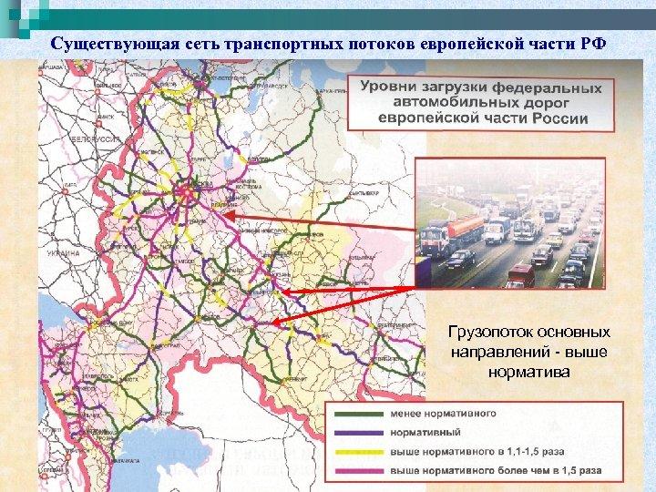 Существующая сеть транспортных потоков европейской части РФ Грузопоток основных направлений - выше норматива