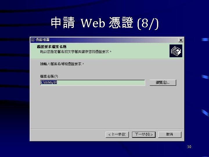 申請 Web 憑證 (8/) 30