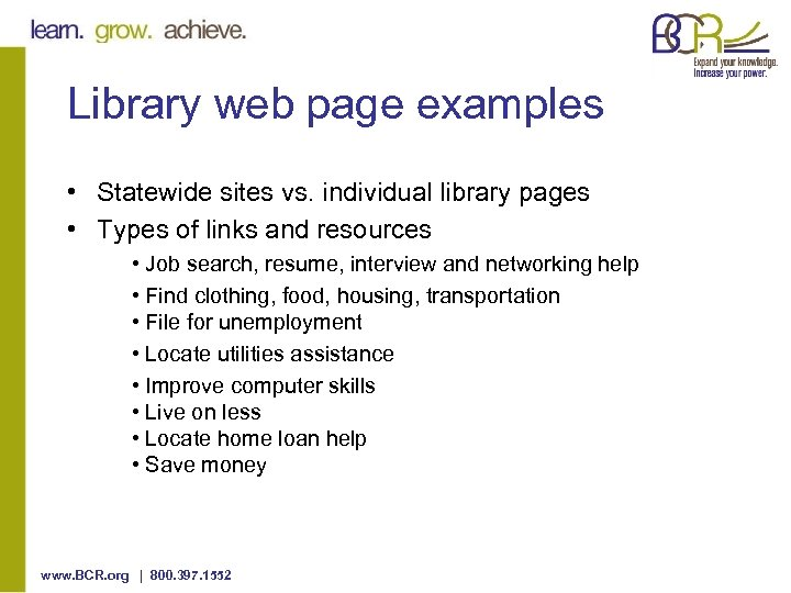 Library web page examples • Statewide sites vs. individual library pages • Types of