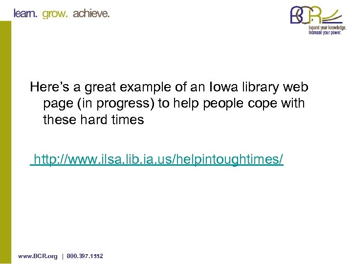 Here's a great example of an Iowa library web page (in progress) to help