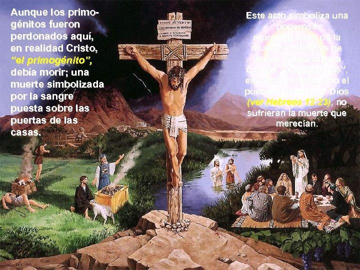 """Aunque los primogénitos fueron perdonados aquí, en realidad Cristo, """"el primogénito"""", debía morir; una"""