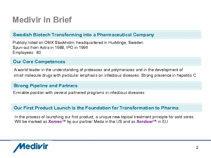 Medivir in Brief Swedish Biotech Transforming into a Pharmaceutical Company Publicly listed on OMX
