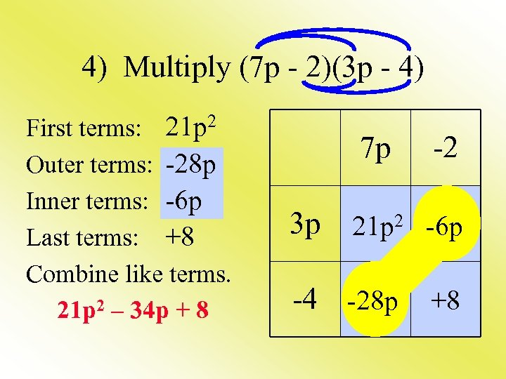4) Multiply (7 p - 2)(3 p - 4) First terms: 21 p 2
