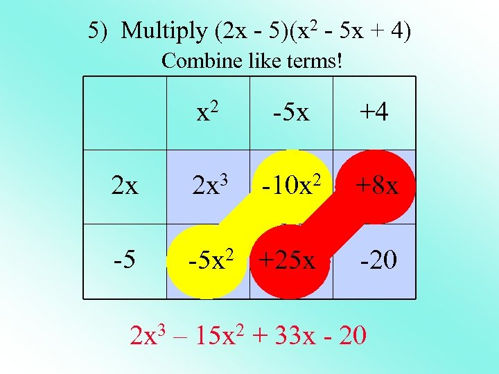 5) Multiply (2 x - 5)(x 2 - 5 x + 4) Combine like