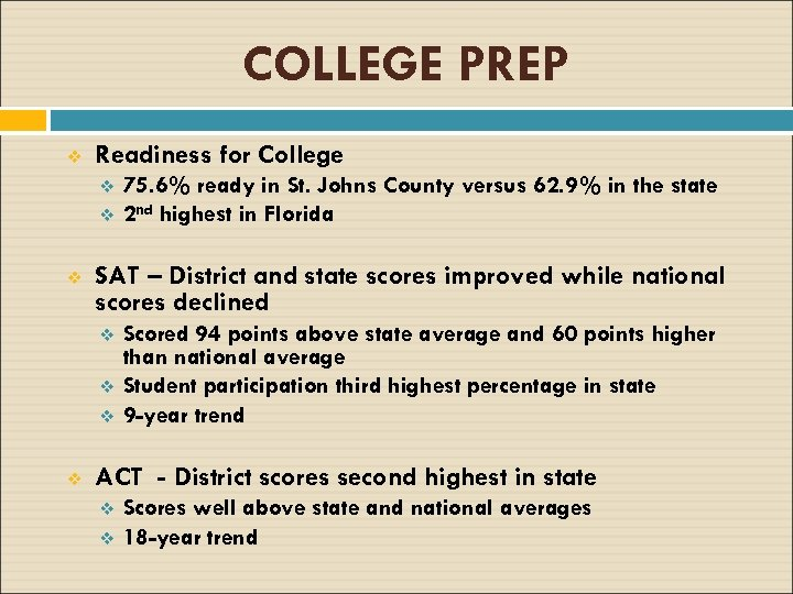 COLLEGE PREP v Readiness for College v v v SAT – District and state
