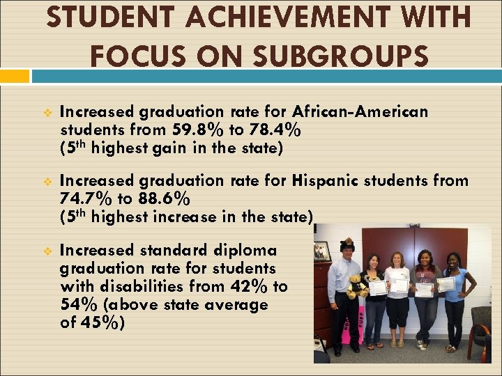 STUDENT ACHIEVEMENT WITH FOCUS ON SUBGROUPS v Increased graduation rate for African-American students from