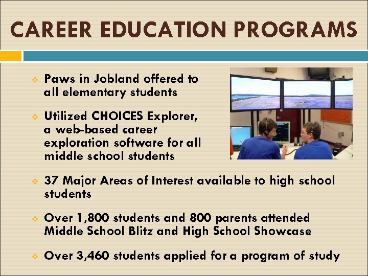 CAREER EDUCATION PROGRAMS v Paws in Jobland offered to all elementary students v Utilized