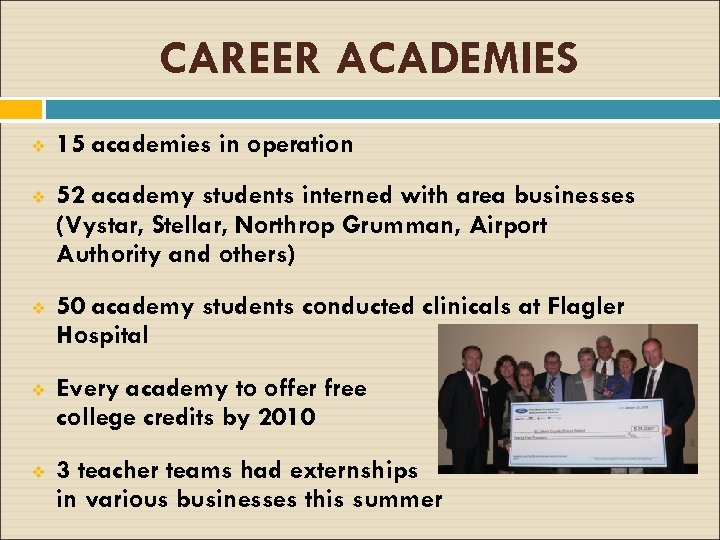 CAREER ACADEMIES v 15 academies in operation v 52 academy students interned with area