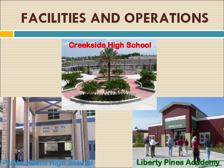 FACILITIES AND OPERATIONS Creekside High School Ponte Vedra High School Liberty Pines Academy