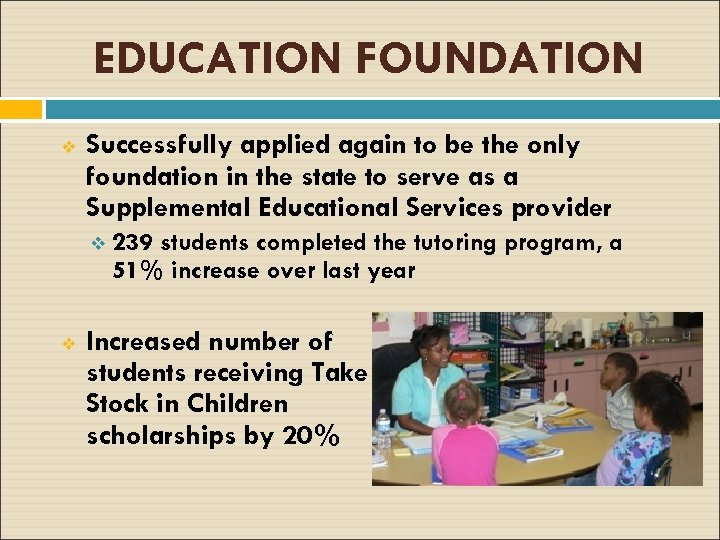 EDUCATION FOUNDATION v Successfully applied again to be the only foundation in the state