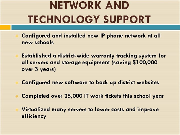 NETWORK AND TECHNOLOGY SUPPORT v Configured and installed new IP phone network at all
