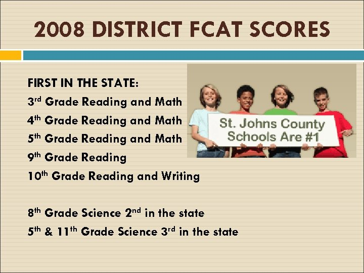 2008 DISTRICT FCAT SCORES FIRST IN THE STATE: 3 rd Grade Reading and Math