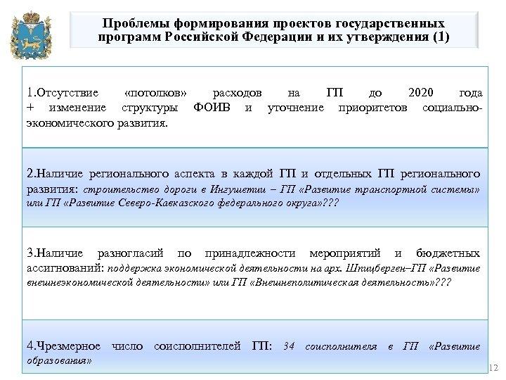 Проблемы формирования проектов государственных программ Российской Федерации и их утверждения (1) 1. Отсутствие «потолков»