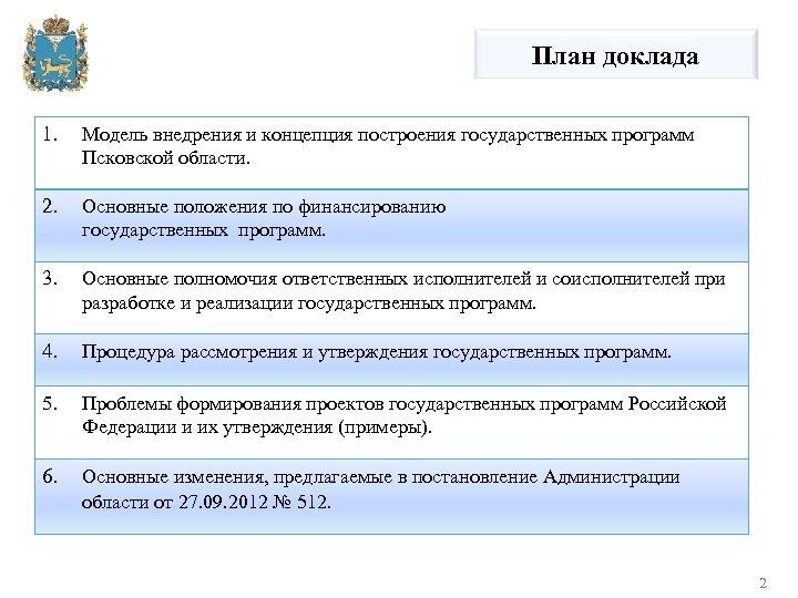 План доклада 1. Модель внедрения и концепция построения государственных программ Псковской области. 2. Основные