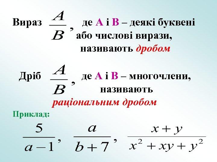 Вираз Дріб Приклад: де A і B – деякі буквені або числові вирази, називають