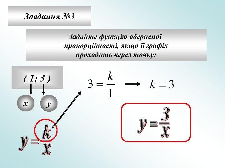 Завдання № 3 Задайте функцію оберненої пропорційності, якщо її графік проходить через точку: (