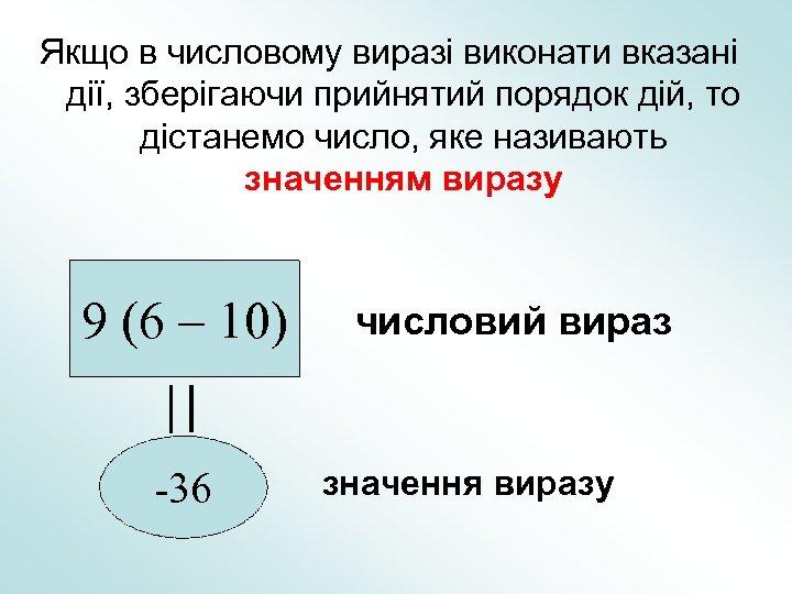 Якщо в числовому виразі виконати вказані дії, зберігаючи прийнятий порядок дій, то дістанемо число,