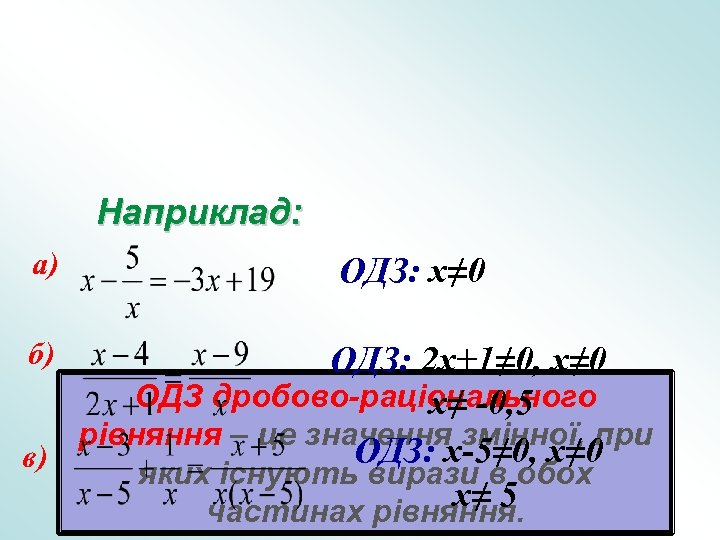 Наприклад: а) б) ОДЗ: x≠ 0 ОДЗ: 2 x+1≠ 0, x≠ 0 ОДЗ дробово-раціонального