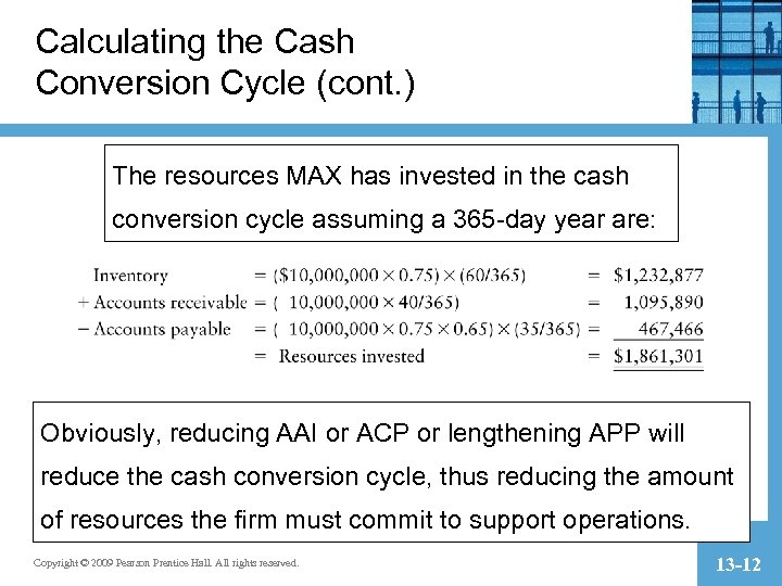 Calculating the Cash Conversion Cycle (cont. ) The resources MAX has invested in the