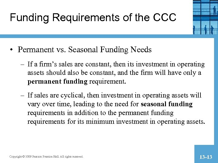 Funding Requirements of the CCC • Permanent vs. Seasonal Funding Needs – If a