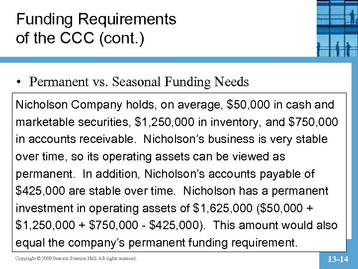 Funding Requirements of the CCC (cont. ) • Permanent vs. Seasonal Funding Needs Nicholson