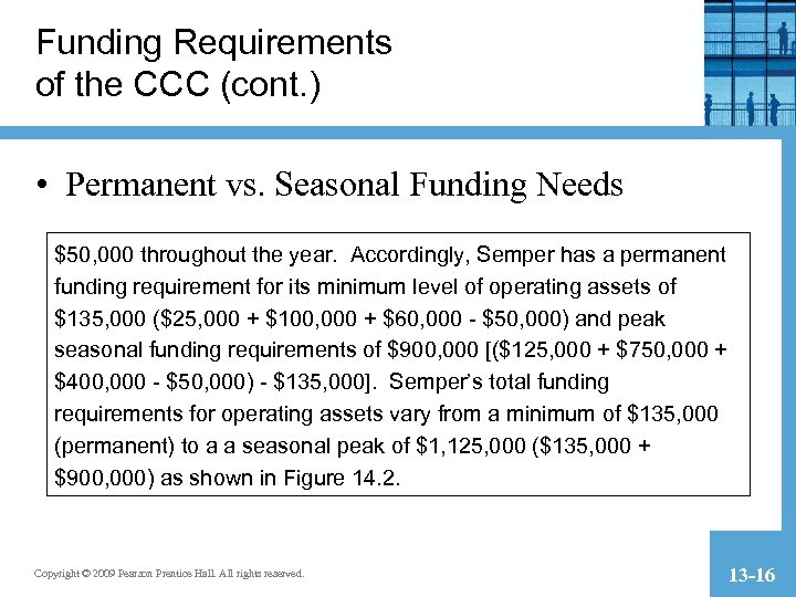 Funding Requirements of the CCC (cont. ) • Permanent vs. Seasonal Funding Needs $50,