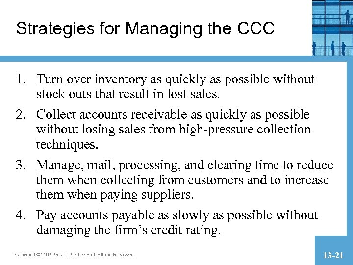 Strategies for Managing the CCC 1. Turn over inventory as quickly as possible without