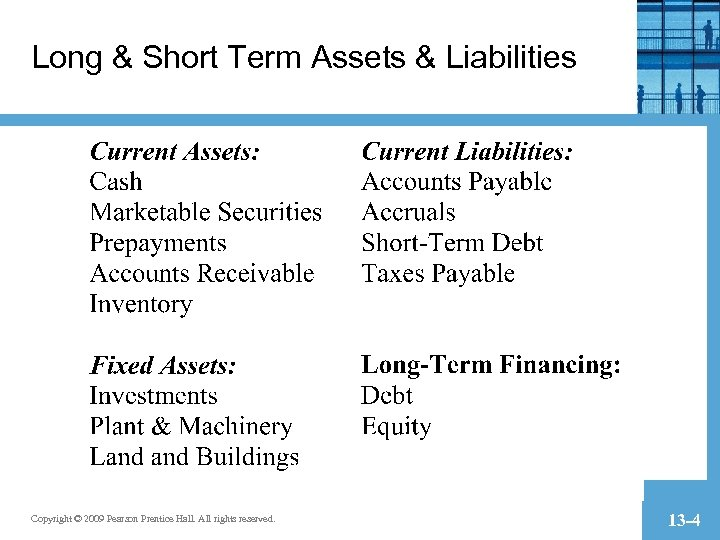 Long & Short Term Assets & Liabilities Copyright © 2009 Pearson Prentice Hall. All