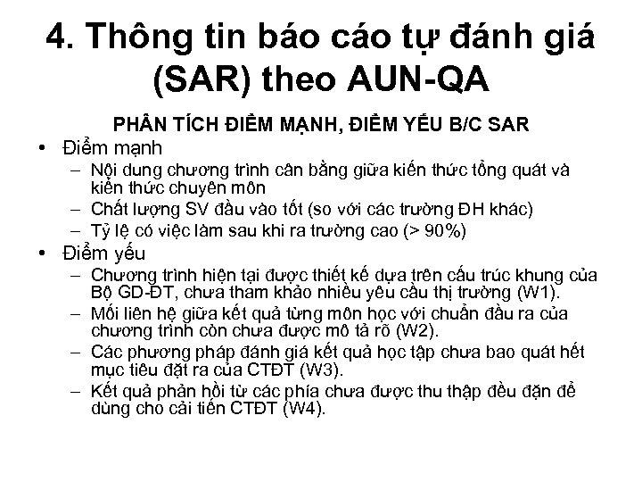 4. Thông tin báo cáo tự đánh giá (SAR) theo AUN-QA PH N TÍCH