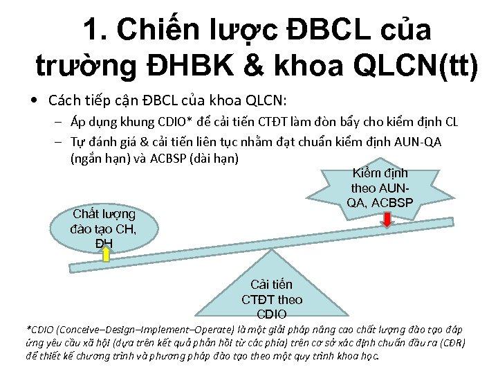1. Chiến lược ĐBCL của trường ĐHBK & khoa QLCN(tt) • Cách tiếp cận