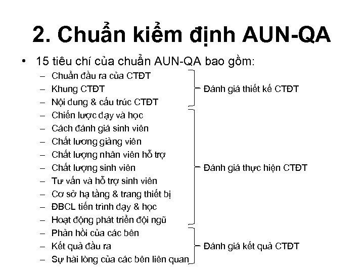 2. Chuẩn kiểm định AUN-QA • 15 tiêu chí của chuẩn AUN-QA bao gồm: