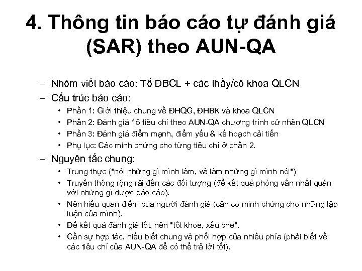 4. Thông tin báo cáo tự đánh giá (SAR) theo AUN-QA – Nhóm viết