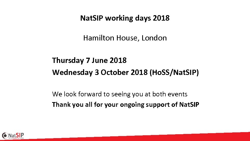Nat. SIP working days 2018 Hamilton House, London Thursday 7 June 2018 Wednesday 3