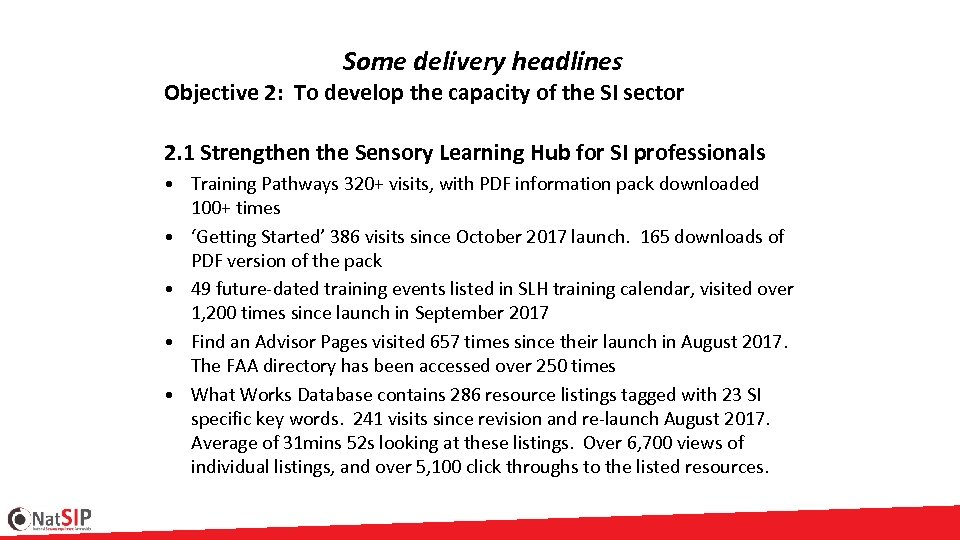 Some delivery headlines Objective 2: To develop the capacity of the SI sector 2.