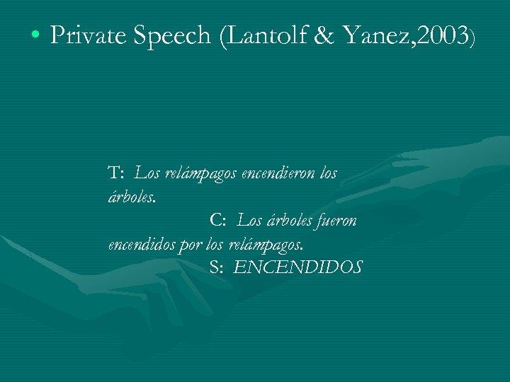 • Private Speech (Lantolf & Yanez, 2003) T: Los relámpagos encendieron los árboles.