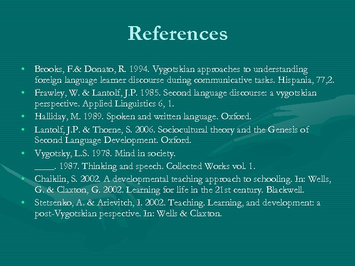 References • Brooks, F. & Donato, R. 1994. Vygotskian approaches to understanding foreign language