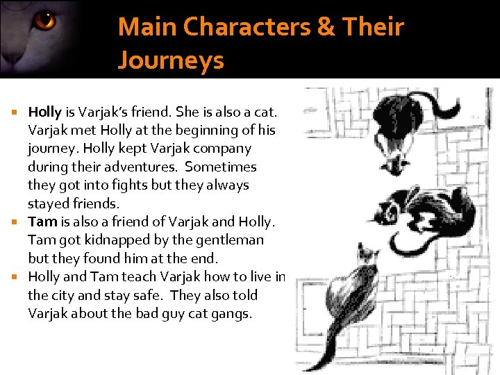 Main Characters & Their Journeys Holly is Varjak's friend. She is also a cat.
