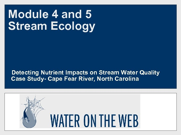 Module 4 and 5 Stream Ecology Detecting Nutrient Impacts on Stream Water Quality Case